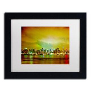 Preston 'City Skyline' White Matte, Black Framed Wall Art