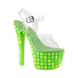 Women's Pleaser Sky 308UVTL Ankle-Strap Sandal Clear PVC/Neon Green