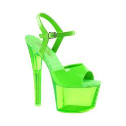Women's Pleaser Sky 309UVT Ankle-Strap Sandal Neon Green Patent/Green Tinted