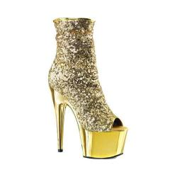 Women's Pleaser Adore 1008SQ Ankle Boot Gold Sequins/Gold Chrome