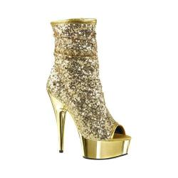 Women's Pleaser Delight 1008SQ Ankle Boot Gold Sequins/Gold Chrome