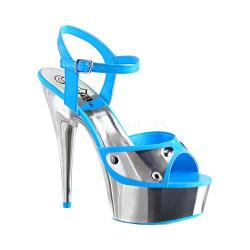 Women's Pleaser Delight 609NC Ankle Strap Sandal Neon Blue Patent/Silver Chrome