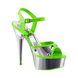 Women's Pleaser Delight 609NC Ankle Strap Sandal Neon Green Patent/Silver Chrome