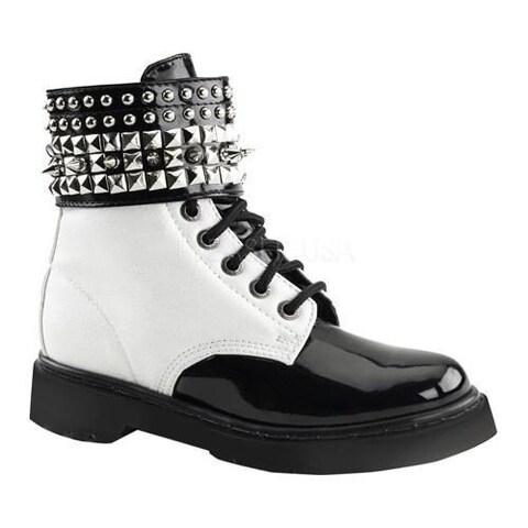 Women's Demonia Rival 106 Boot White Vegan Leather/Black Patent