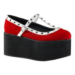 Women's Demonia Click 07 T-Strap Red Canvas/Black-White Vegan Leather (More options available)