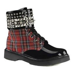 Women's Demonia Rival 106 Boot Red Plaid Fabric/Black Patent