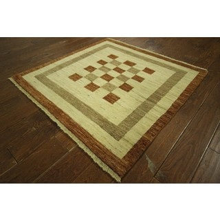 New Checkered Earth Tone Square Fine Gabbeh Hand-knotted Wool Area Rug (4', 4' x 4')