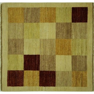 Unique Hand-knotted Square Multi-colored Checked Gabbeh Wool Area Rug (4', 4' x 4')