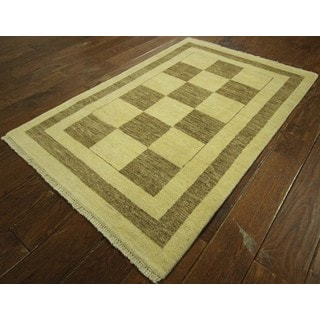 Super Fine Lori Buft High KPSI Hand-knotted Checked Gabbeh Wool Rug (3' x 5')