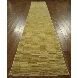 Designers Collection Gabbeh Runner Ivory Wool Hand-knotted Area Rug (3' x 15' & Up)