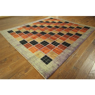 Gabbeh Hand-knotted Multicolor/ Grey Purple Border 8x9 Oriental Wool Rug (8' x 9')