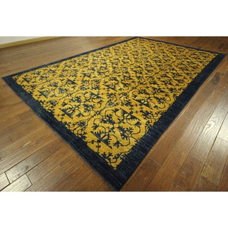 Unique Chobi Oushak Gold/ Navy Blue Hand-knotted Wool Rug (9' x 13')