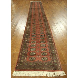New Bokhara Runner Wool Hand-knotted Gul Design Rust Area Rug (3' x 15' & Up)