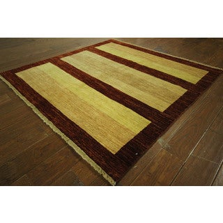 Traditional Fine Gabbeh Earth Tone Striped Square Hand-knotted Wool Rug (5', 5' x 5')