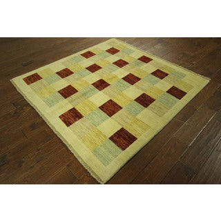 New Ivory/ Multi-colored Checked Design Square Gabbeh Hand-knotted Wool Rug (5', 5' x 5')