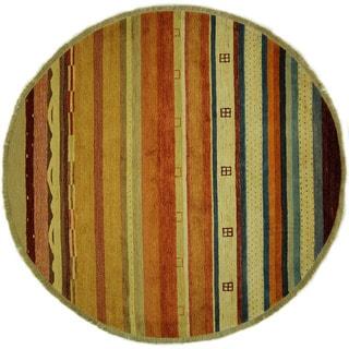 Kaskuli Lori Buft Round Multi-colored Gabbeh Hand-knotted Wool Area Rug (7', 7' x 7')