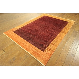 Hand-knotted Maroon and Orange Border Super Fine Gabbeh Wool Area Rug (7' x 8')