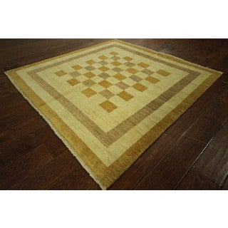 Super Square Gabbeh Ivory Hand-knotted Oriental Wool Geometric Area Rug (5', 5' x 5')