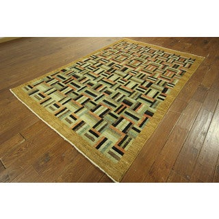 New Multi-colored Super Fine Gabbeh Checked Hand-knotted Wool Area Rug (6' x 9')