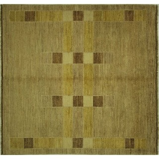 Gabbeh Traditional Handmade Wool Earth Tone Square Hand-knotted Rug (5', 5' x 5')