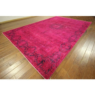 Exquisite Pink Overdyed Hand-knotted Oriental Floral Wool Area Rug (10' x 14')