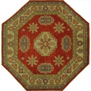 Elegant Octagon Amulet Motif Red Super Kazak Hand-knotted Wool Area Rug (7', 7' x 7')