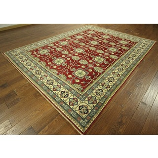 New Lotus Motif Red Oriental Super Kazak Hand-knotted Wool Area Rug (9' x 10')