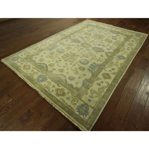 Shop Oushak Floral Tufted Wool Persian Oriental Area Rug: Shop Traditional Oushak Geo-floral Ivory Hand-knotted