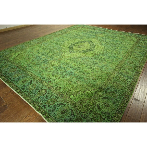Lime Green Outdoor Area Rug: Lime Green Overdyed Tabriz Hand-knotted Wool Area Rug (10
