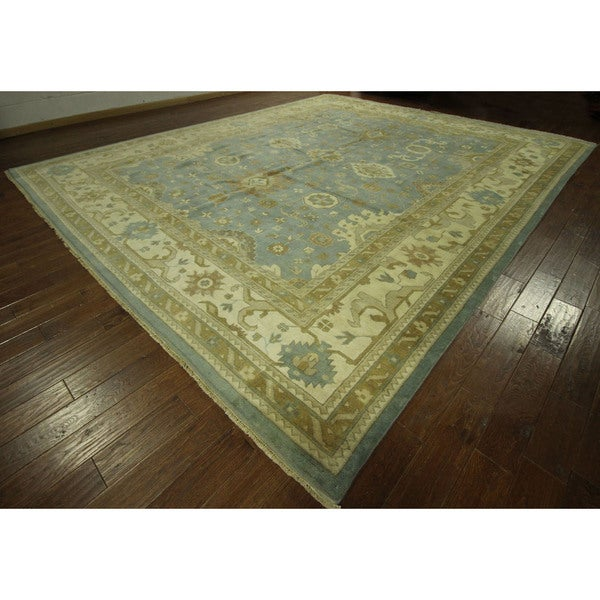 hand knotted wool blue oushak geo floral oriental area rug 12 39 x 18 39 12 39 x 12 39 free. Black Bedroom Furniture Sets. Home Design Ideas