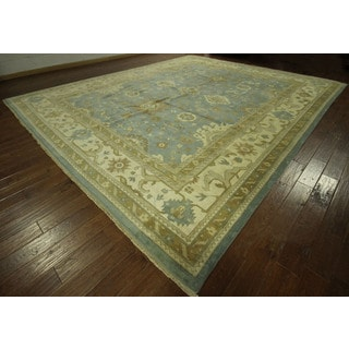 Hand-knotted Wool Blue Oushak Geo-floral Oriental Area Rug (12' x 18', 12' x 12')