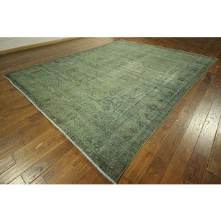 Wool Oriental Green Overdyed Hand-knotted Tabriz Area Rug (10' x 12')