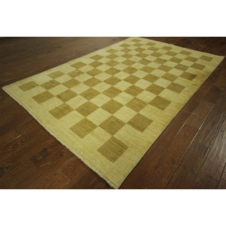 Super Fine Persian Brown/ Ivory Checkered Gabbeh Hand-knotted Wool Rug (6' x 9')