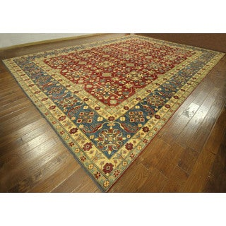 Wool and Wool Hand-knotted Red Super Kazak Area Rug (11' & Up)