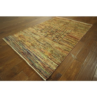 Unique Hand-knotted High KPSI Wool Gabbeh Multi-colored Area Rug (4' x 6')