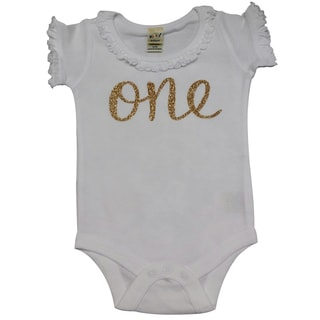 Baby Girls' First Birthday Embedded Glitter White Bodysuit