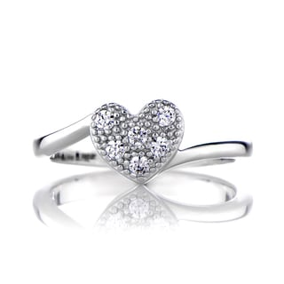 Sterling Silver Heart Charm Promise Ring