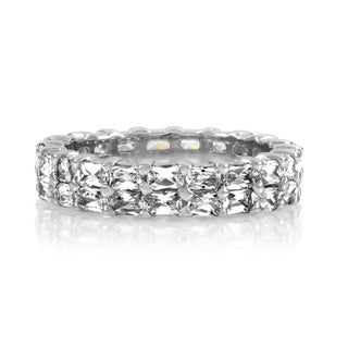 Sterling Silver Double Row Emerald Cut Eternity Band