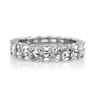 Sterling Silver Double Row Emerald Cut Eternity Band|https://ak1.ostkcdn.com/images/products/10507700/P17599158.jpg?impolicy=medium