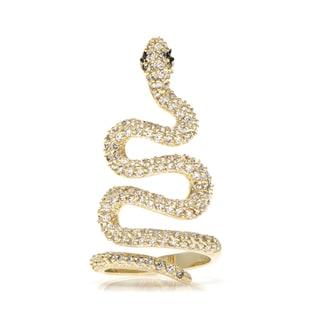 Brass Gold CZ Snake Ring