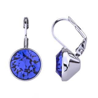 Silver Overlay Round-cut Blue Crystal Leverback Earrings