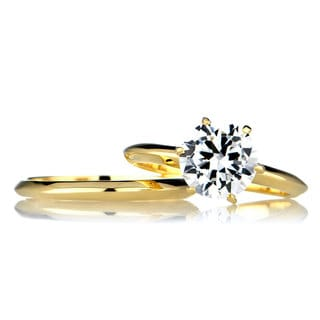 Sterling Silver Round Cut CZ Goldtone Wedding Ring Set