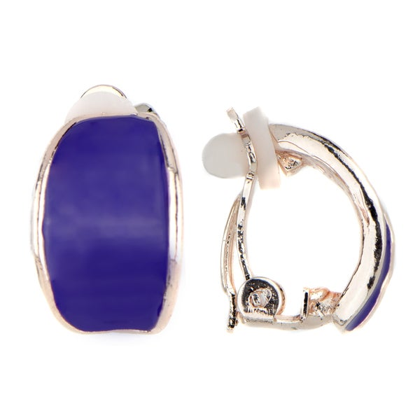 Half Hoop Two-tone Yellow Goldtone and Purple Enamel Clip-on Earrings