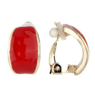 Red Half Hoop Clip On Earrings
