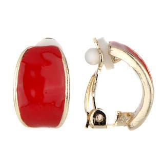 Red Half Hoop Clip On Earrings|https://ak1.ostkcdn.com/images/products/10507742/P17599196.jpg?impolicy=medium