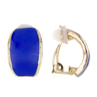 Blue Half Hoop Clip On Earrings
