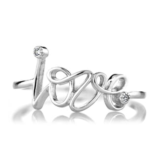 Sterling Silver Petite CZ and Cursive Love Ring