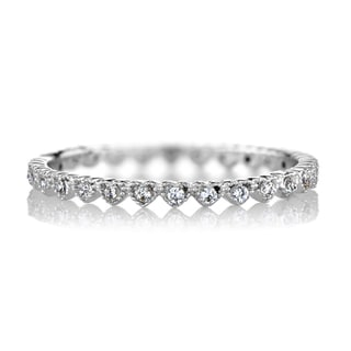 Brass Petite CZ Heart Eternity Stackable Ring Band