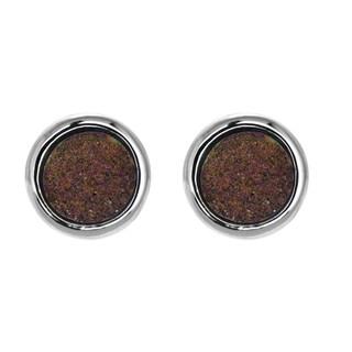 Rose Dust Drusy Quartz Stud Earrings