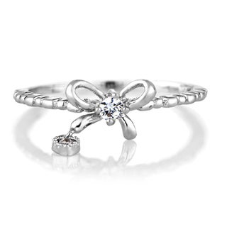Brass Based Bow Charm with Heart Petite Stackable Ring Band